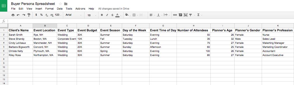 EXAMPLE: buyer persona spreadsheet