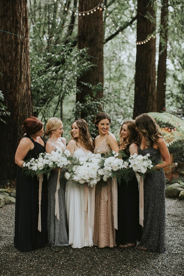 Black and gray bridesmaid dresses