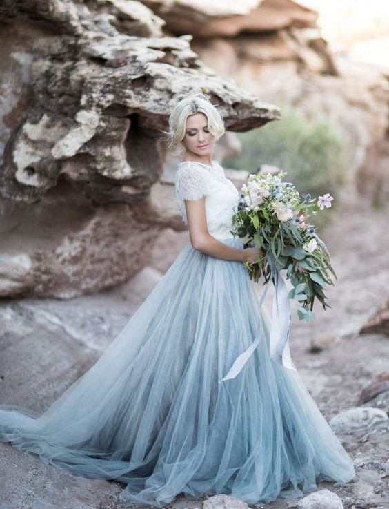 Whimsical wedding dresses are a fun choice for a non-white wedding dress.