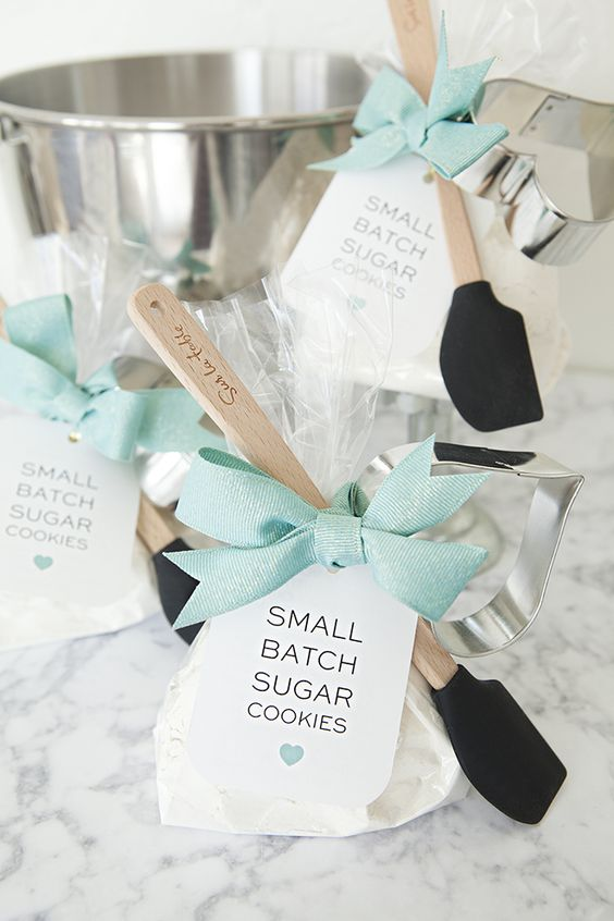 Write down the brides favorite recipe and use those as unique bridal shower favors.