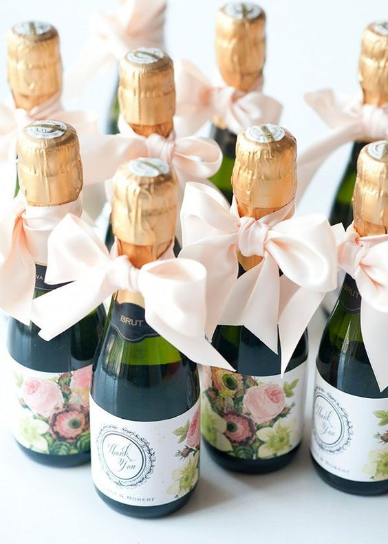Mini-Champagne bottles make the perfect bridal shower favors! Especially when customized.