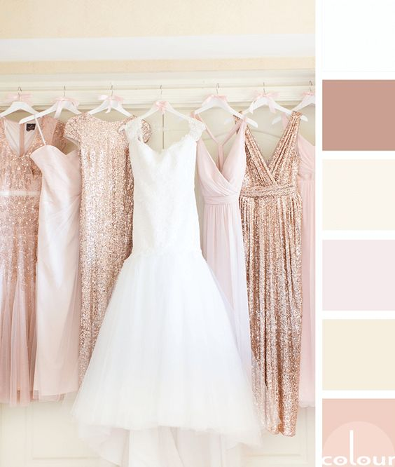 Instead of the typical fall wedding colors, keep it light with gold and peach tones.