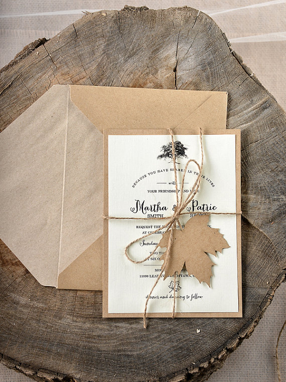 Include a maple leaf on your wedding invite for your fall wedding.