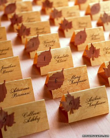 Use maple placecards or holders at your fall wedding.