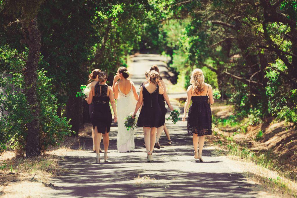 Bridal Party Walking Away