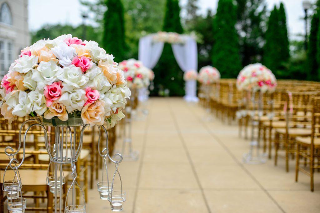 Fake Flowers Along Wedding Aisle