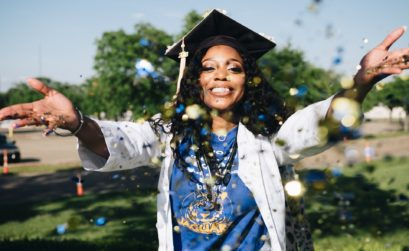 Grad Throwing Confetti