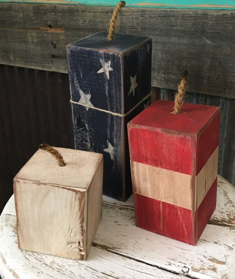 4th of July Decorations Wooden Firecrackers