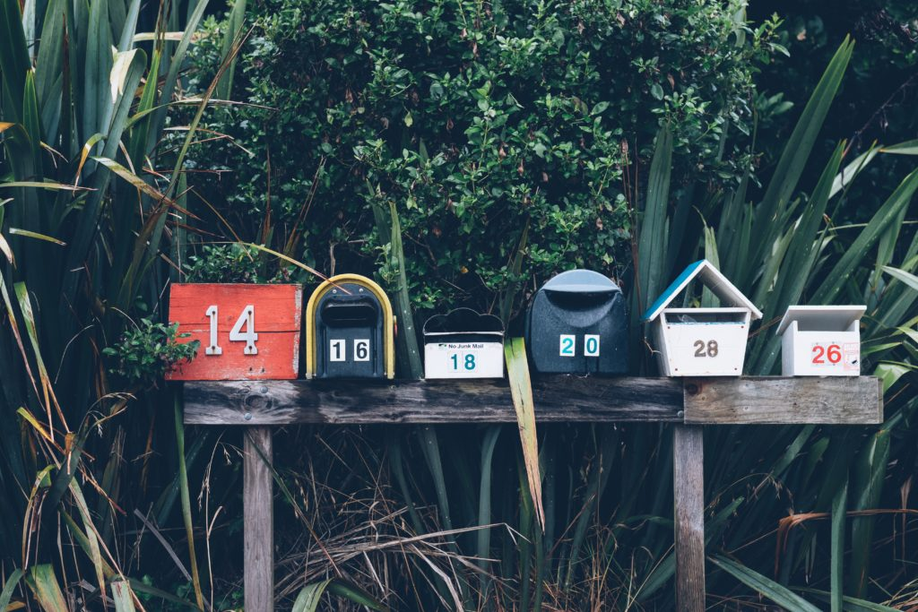 Row of Direct Mail Boxes