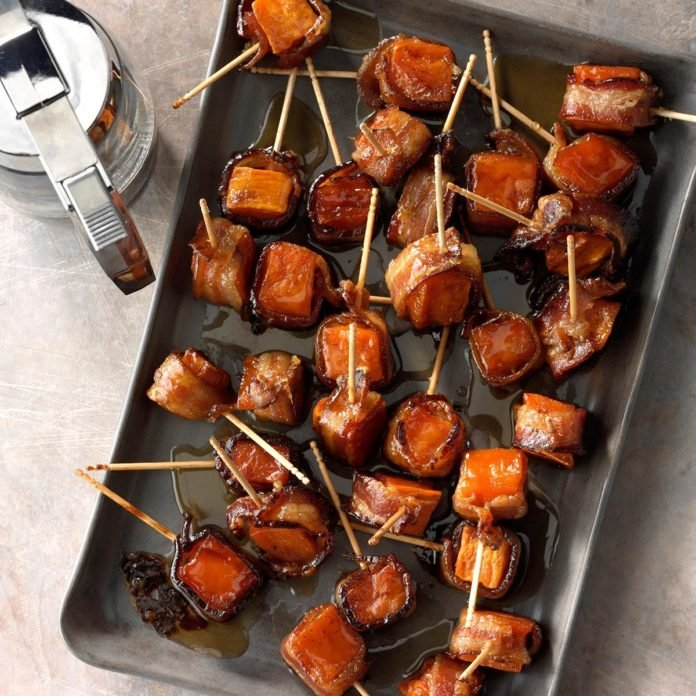 holiday appetizers bacon-wrapped sweet potato