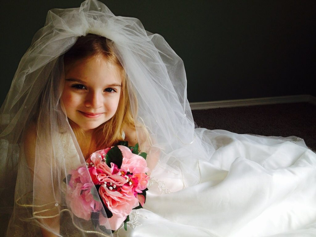 two wedding dresses preserves for children