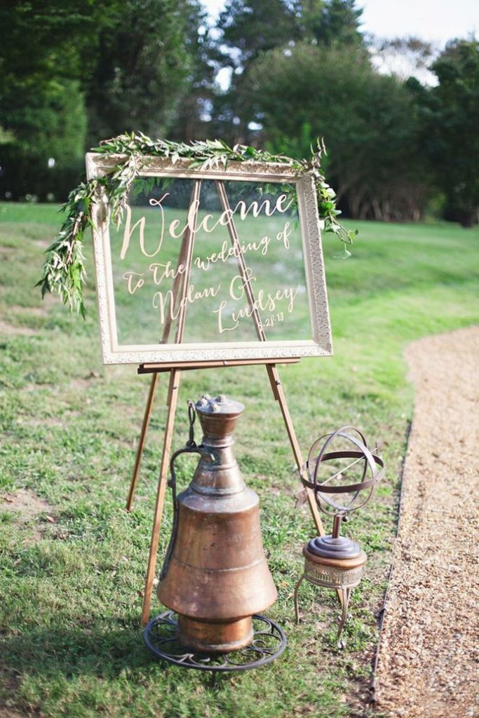 rustic wedding glass sign