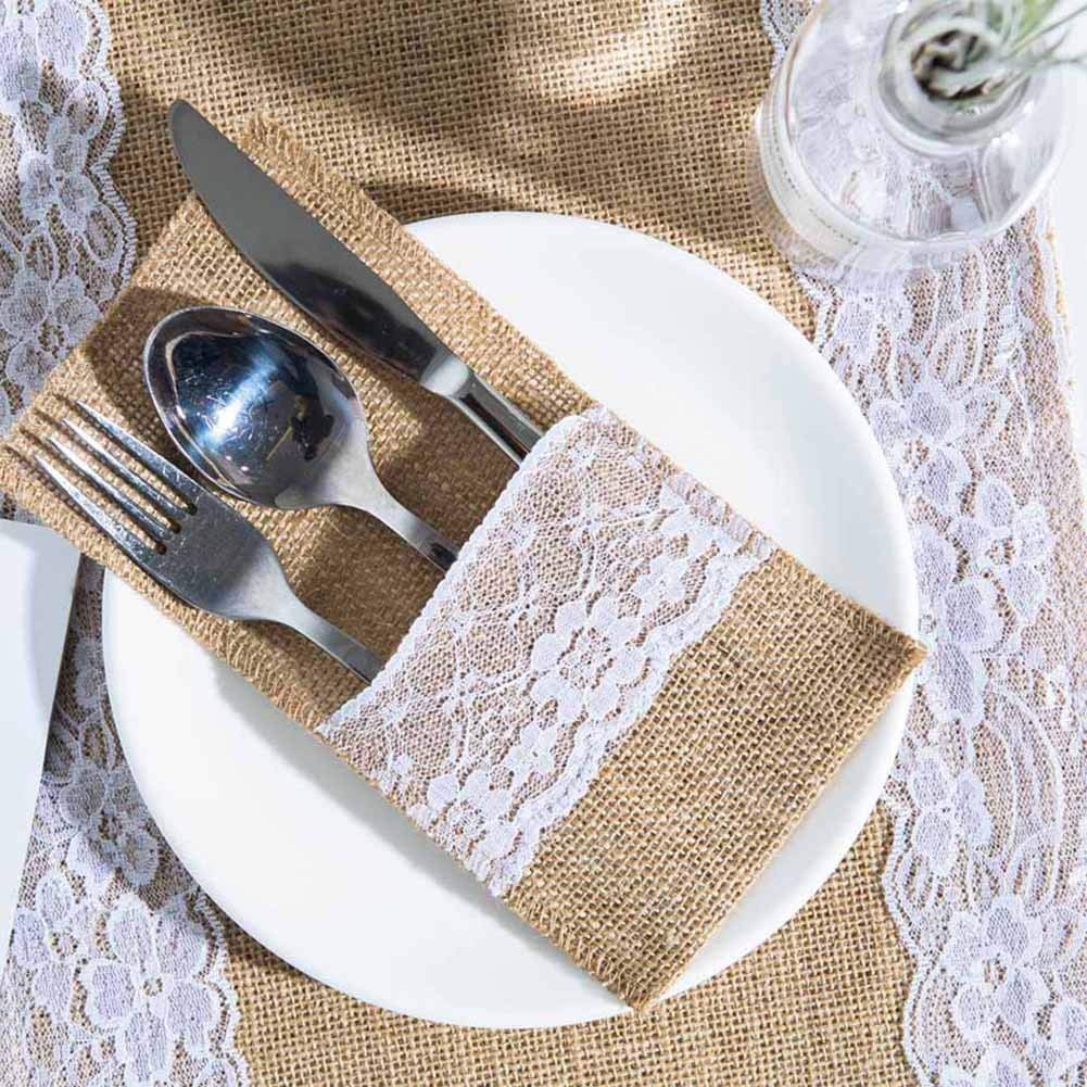 rustic wedding lace utensil wrap