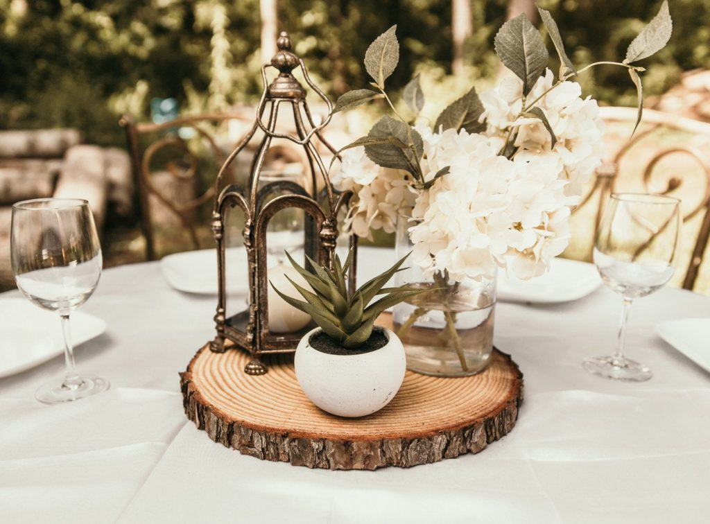 rustic wedding wood centerpiece