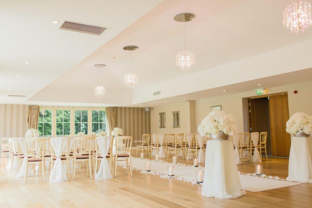 consider the venue for wedding color palette