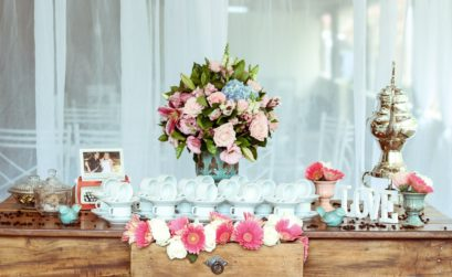 flowers on reception table