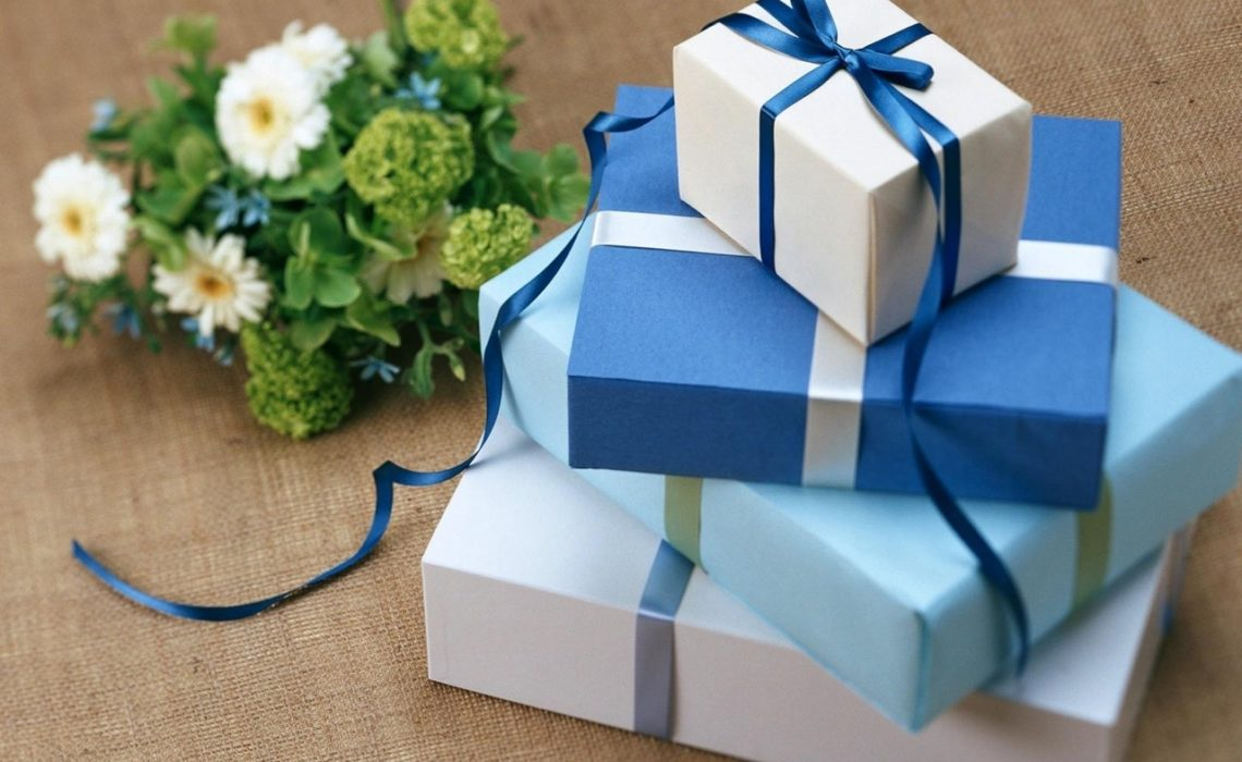 wedding gift blue bow