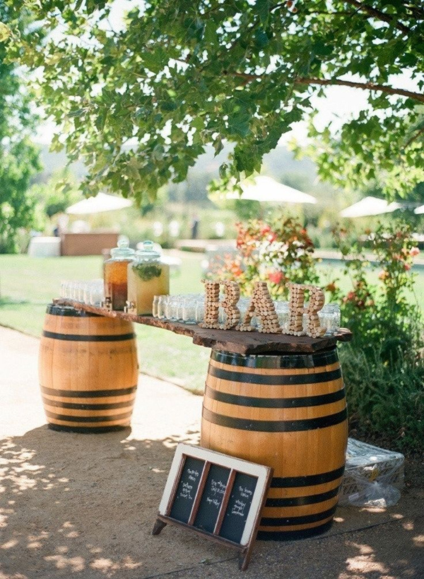 wine-themed barrel bar