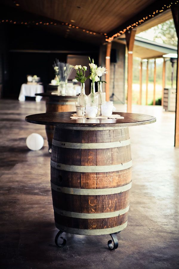 wine-themed barrel cocktail table