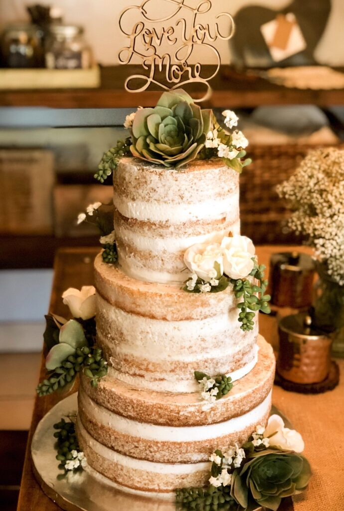 naked wedding cakes for winter