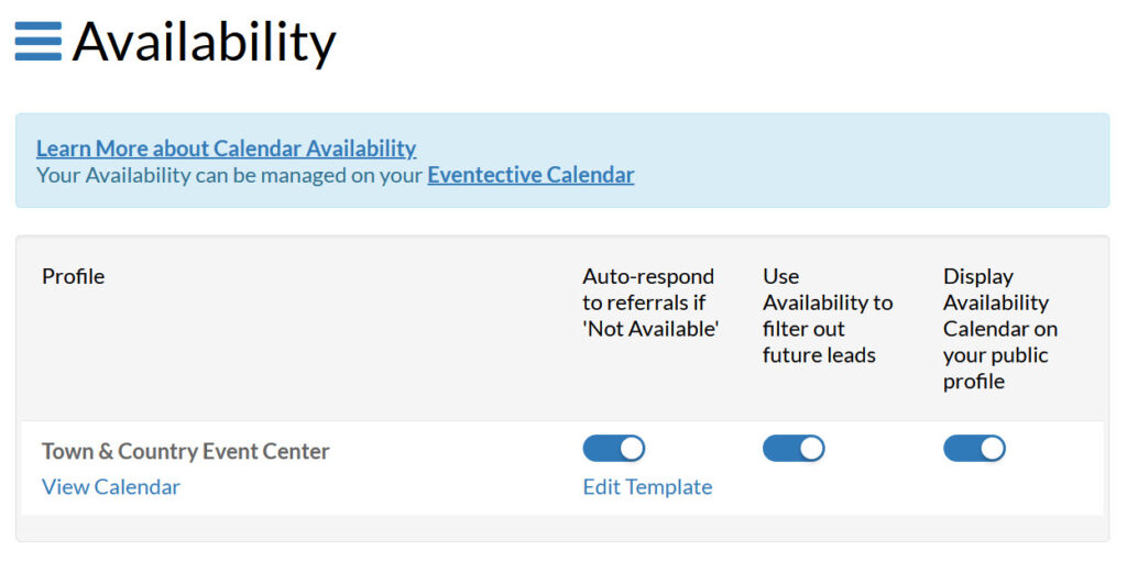 Availability Settings