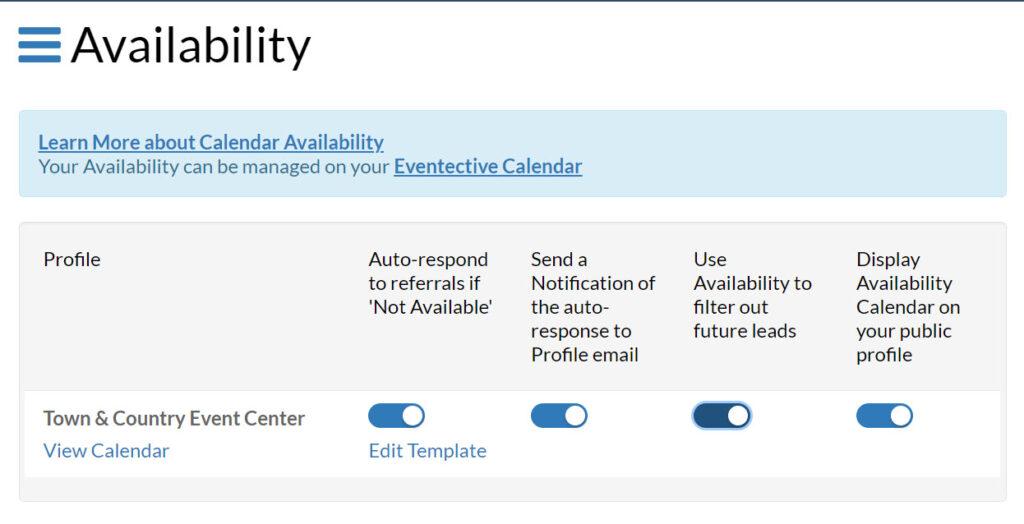 Availability Settings