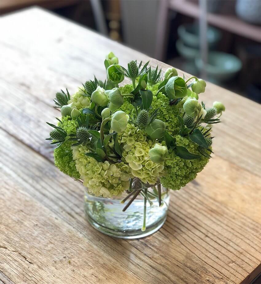 green hydrangeas in summer centerpiece