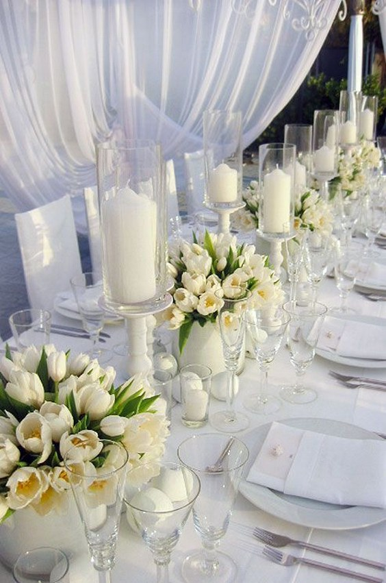 white tulips for summer centerpieces