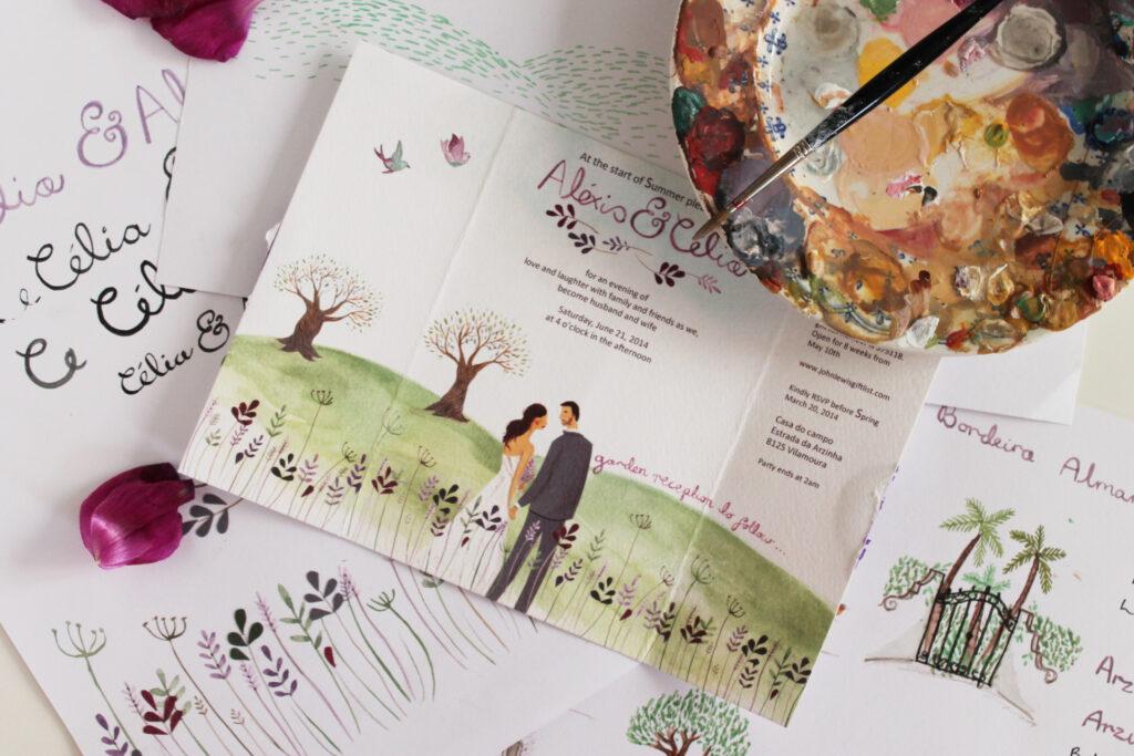 illustrated unique wedding invitation